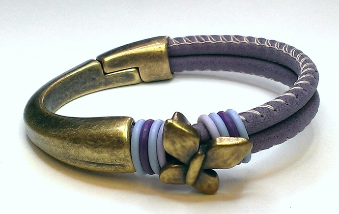 Violet Stitched Arizona Leather Bracelet, Item #1434