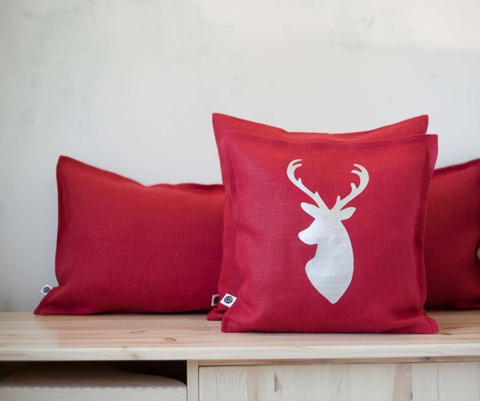 Red linen pillow cover - throw pillows - cushion case 16x16 inch size