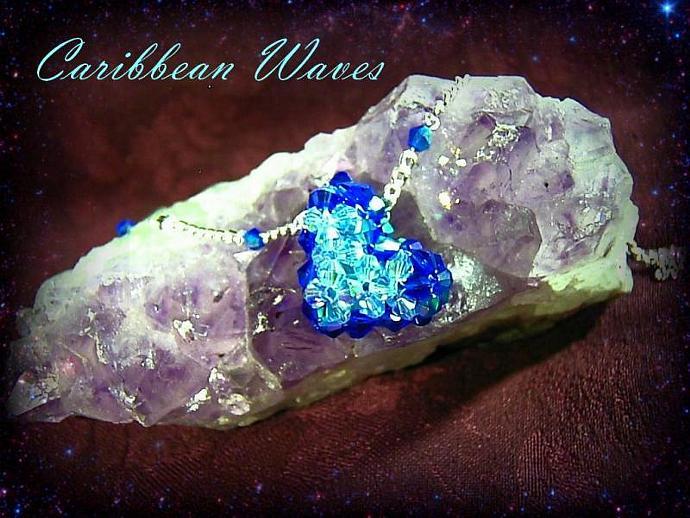 Full of Love beaded celestial crystal heart necklace- Caribbean Wave- a light