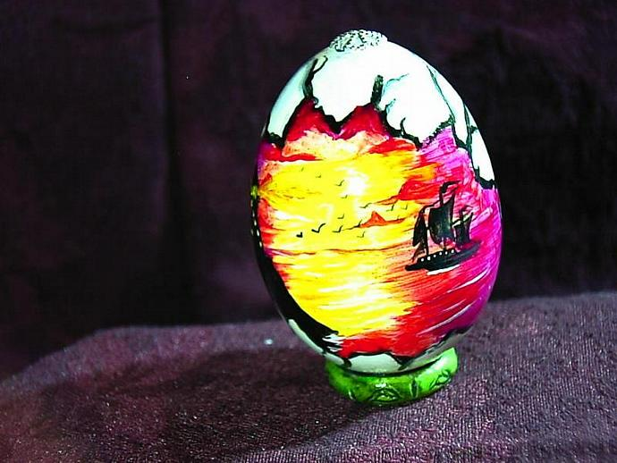 Hand painted egg- 'Other World Egg- a View into a Pirate's Life' on a permanent