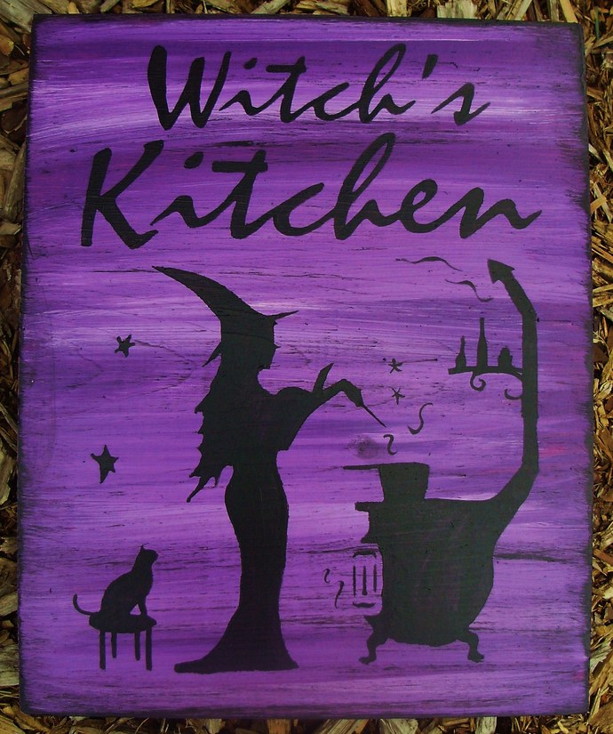 Witches Kitchen Witch Sign Witchcraft primitives Folk Art Halloween Witches