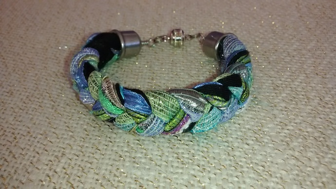 Greens, Blues and Black Braided Bracelet
