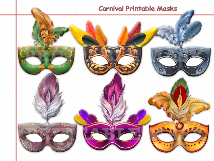 unique carnival printable masks by holidaypartystar on zibbet
