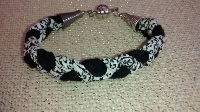 Black and White Braided Cotton Bracelet