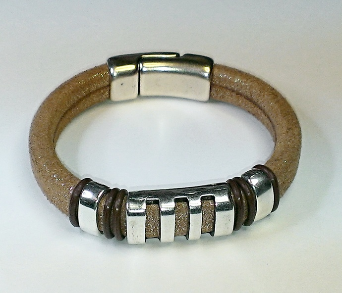 Tan Starlight Leather Bracelet, Item #1448