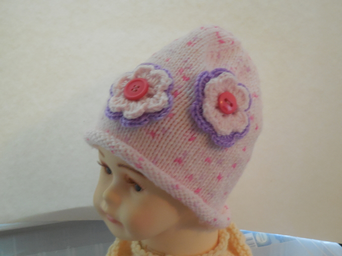 Infant Pink Flowered Beanie Hat