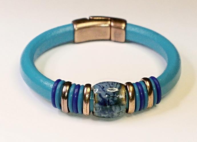 Regaliz Greek Leather Bracelet, Item #1451