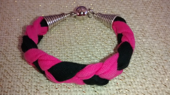 Pink and Black Braided Cotton Bracelet