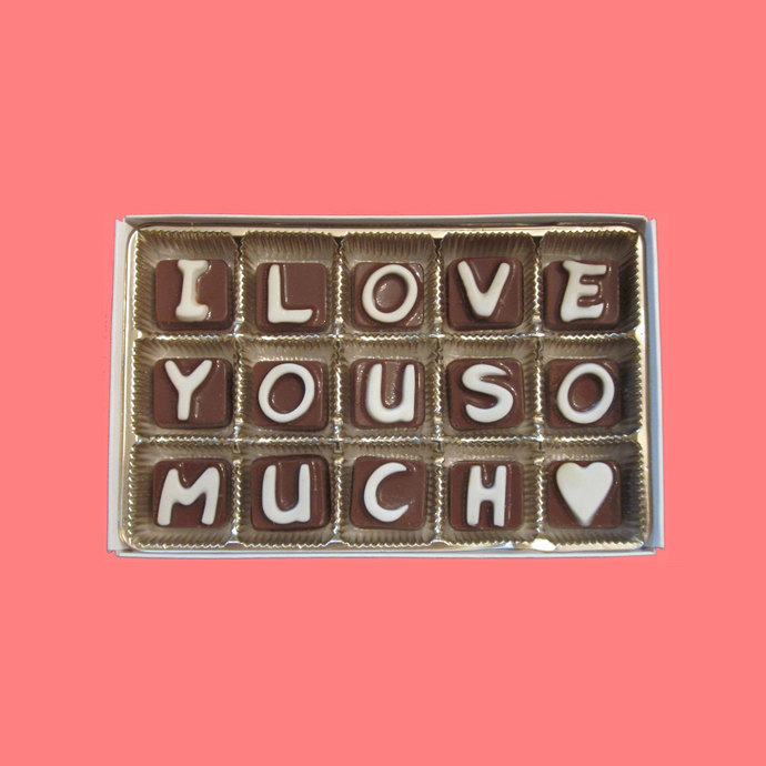 I Love You So Much Cubic Chocolate Letters Message Anniversary Gift for