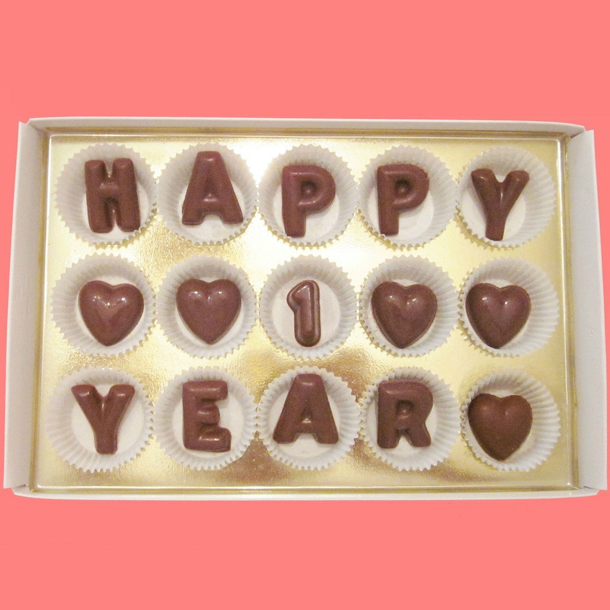 Happy 1 Year Large Milk Chocolate Letters What Candy Says