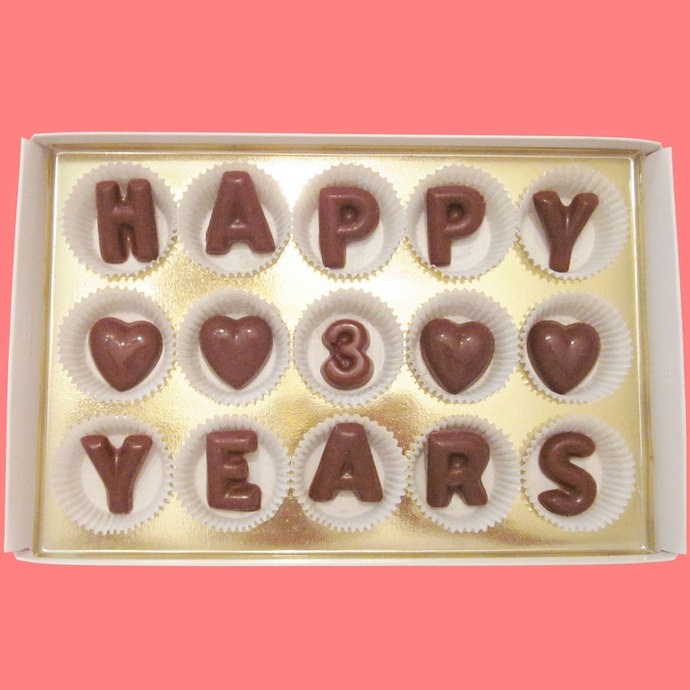 Happy 3 Years Large Milk Chocolate Letters by What Candy Says on