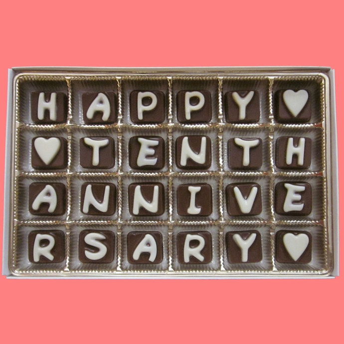 Happy Tenth Anniversary Cubic Chocolate Letters Wedding Ten 10th 10 Years Gift