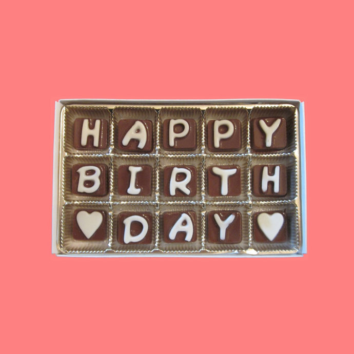 Happy Birthday Cubic Chocolate Letters Long Distance Romantic Gift For