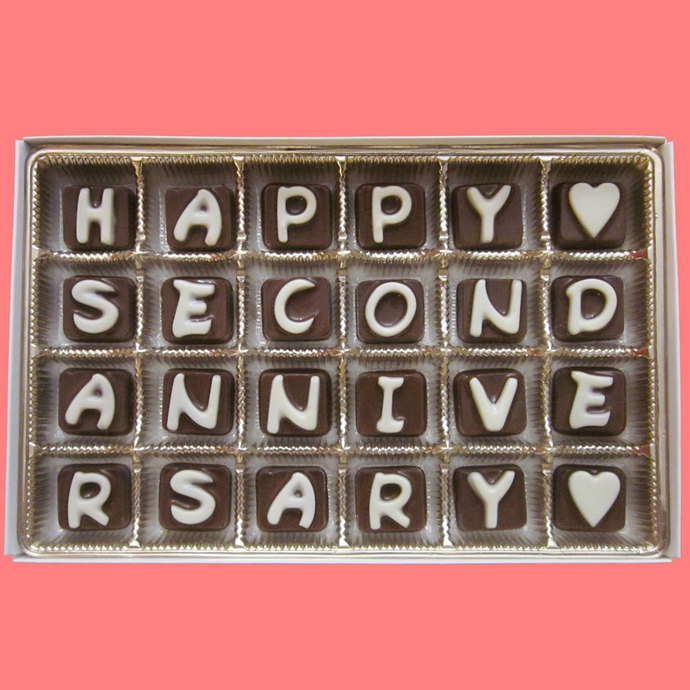 Happy Second Anniversary Cubic Chocolate Letters Romantic Kawaii 2 Years 2nd