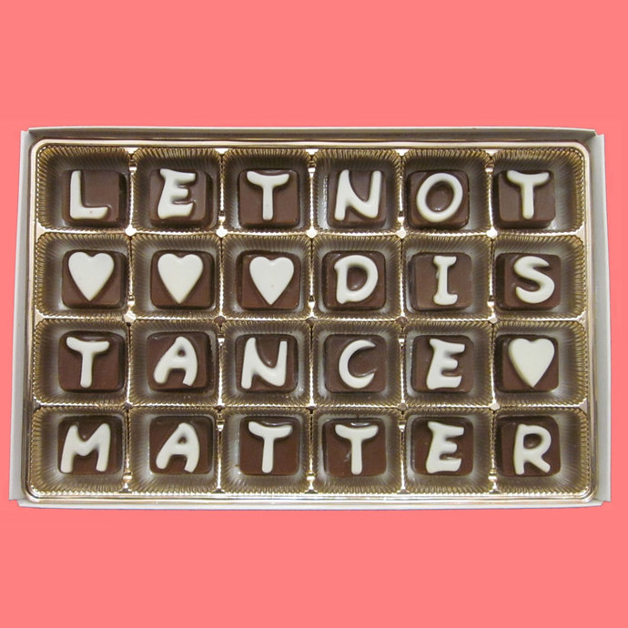 Let Not Distance Matter Cubic Chocolate by What Candy Says on Zibbet