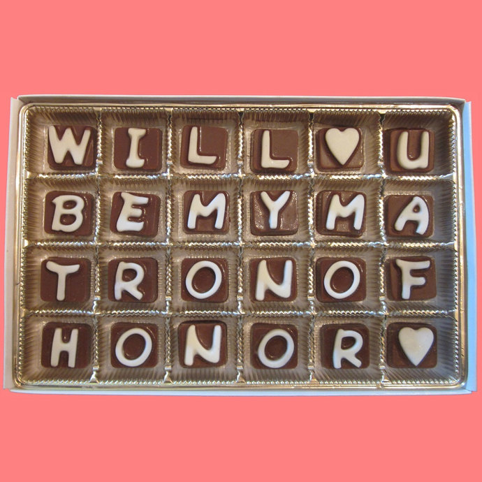 Will You Be My Matron of Honor Cubic Chocolate Letters Luxury Funny Wedding