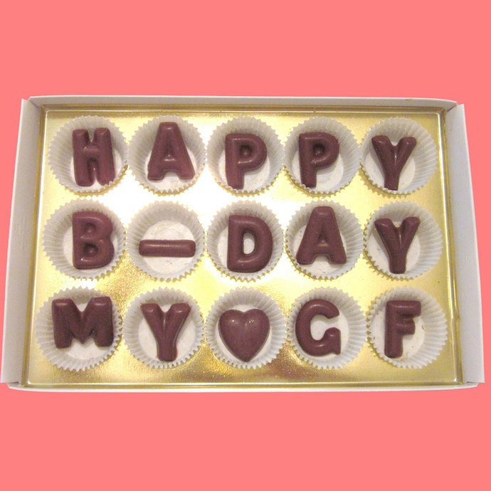 Happy B Day My GF Large Milk Chocolate Letters Birthday Gift For Your Beautiful