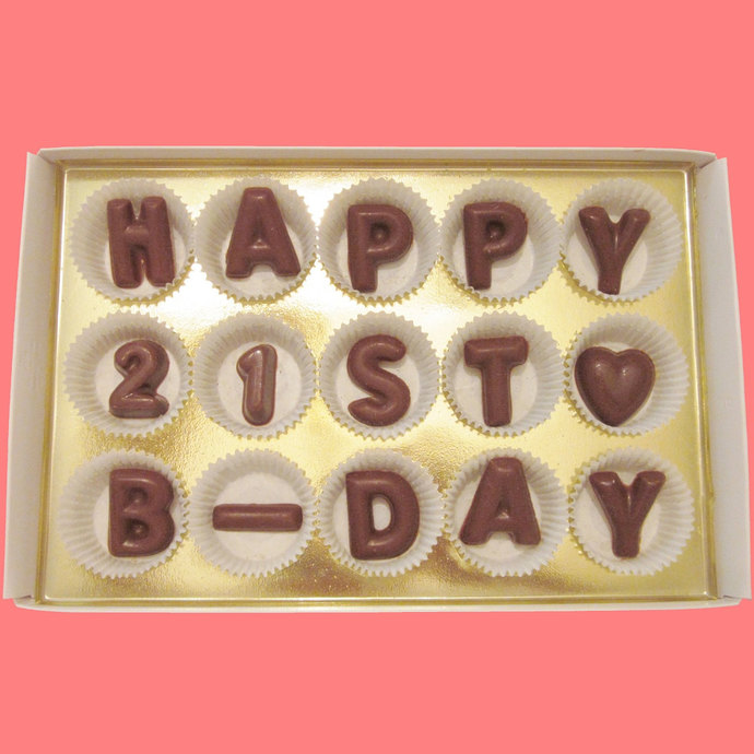 Happy 21st B Day Large Milk Chocolate Letters Cool Birthday Gift For Young Men