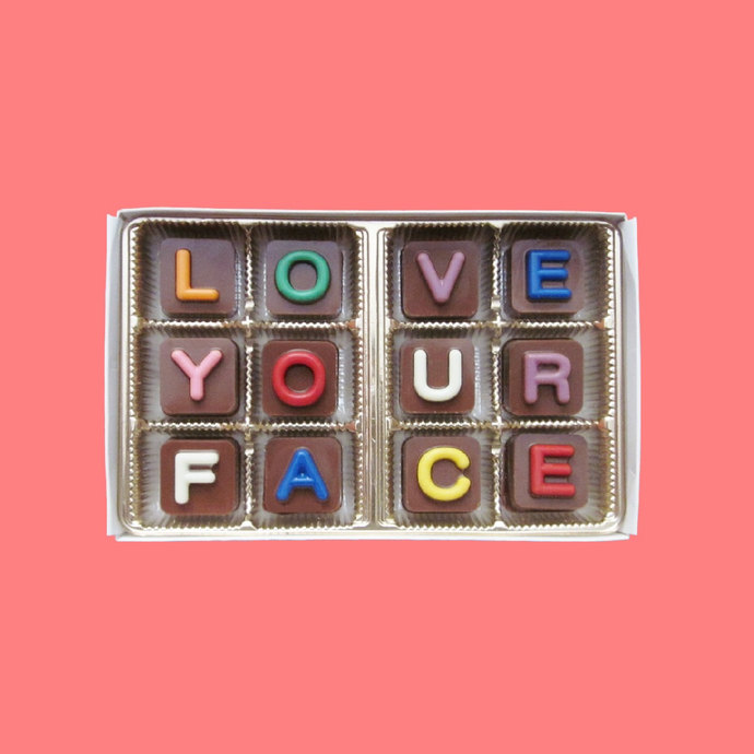 I Love Your Face Chocolate Jelly Bean Cube Letters Unique Cute Valentines Day