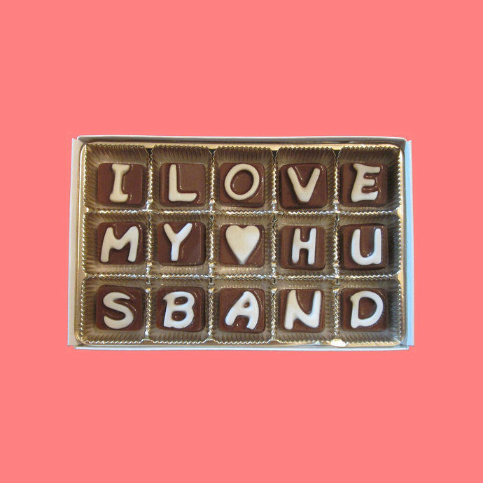 I Love My Husband Cubic Chocolate Letters Long Distance Love Anniversary  Gift for Army Hubby Valentines Day Gift Idea by What Candy Says