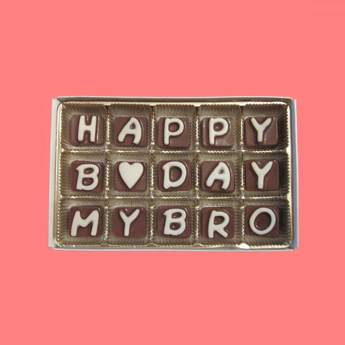 Happy Birthday My Brother Cubic Chocolate Letters Long Distance Unusual