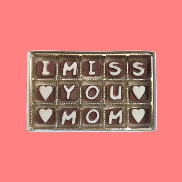 I Miss You Mom Cubic Chocolate Letters Long Distance Holiday Greeting Funny