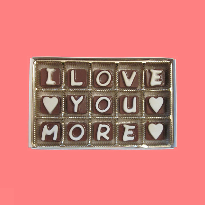 I Love You More Cubic Chocolate Message Letters Romantic Idea Valentines Day