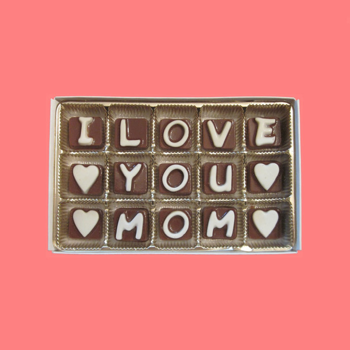 I Love You Mom Cubic Chocolate Letters by What Candy Says on Zibbet