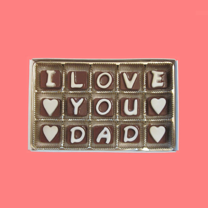 I Love You Dad Cubic Chocolate Letters Cool Birthday Gift For Daddy Holiday