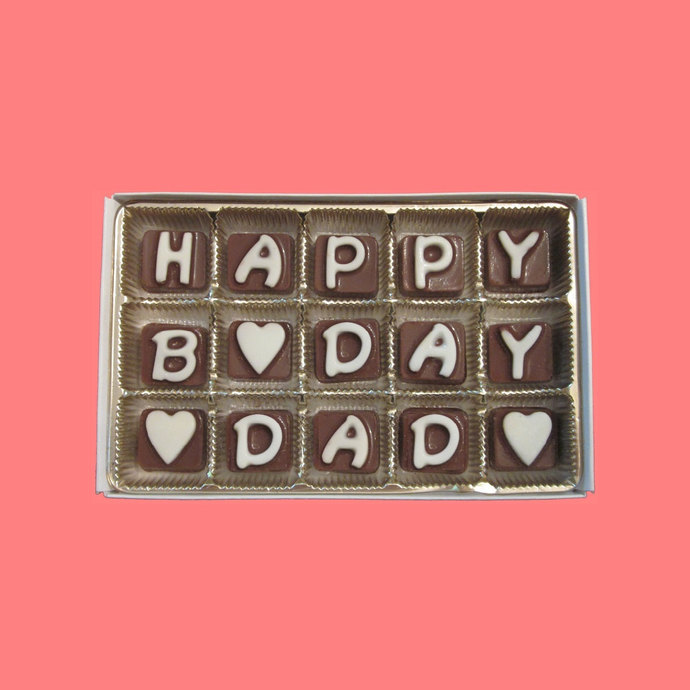 Happy Birthday Dad Cubic Chocolate Letters Cute Gift For Father Daddy