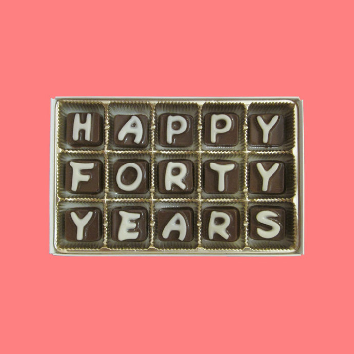 Happy Forty Years Chocolate Message 40 40th Milestone Anniversary Gift for