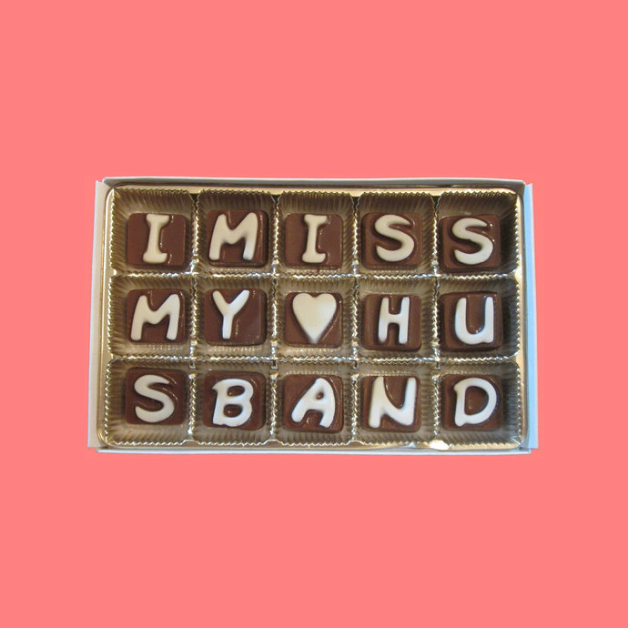 I Miss My Husband Cubic Chocolate Letters Fun Cute Long Distance Valentines Gift