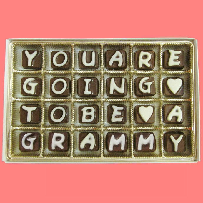 You Are Going To Be A Grammy Cubic Chocolate Letters Grandmother To Be Cute