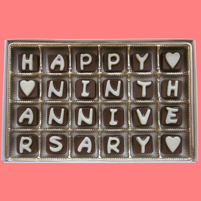 Happy Ninth Anniversary Cubic Chocolate By What Candy Says
