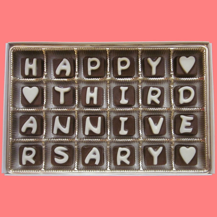 Happy Third Anniversary Cubic Chocolate Letters 3 Years Three 3rd Gourmet Gift