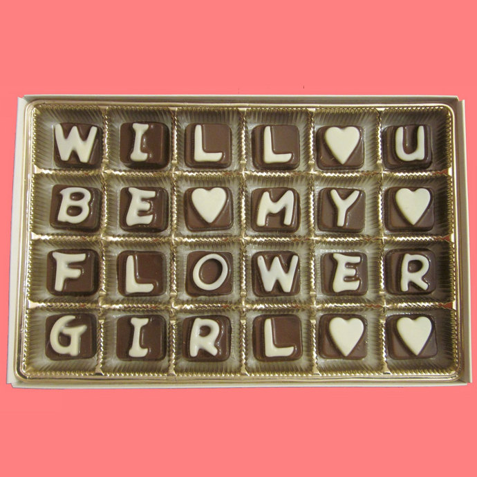 Will you be my flower girl cubic chocolate by what candy says on will you be my flower girl cubic chocolate letters creative luxury gift ccuart Image collections