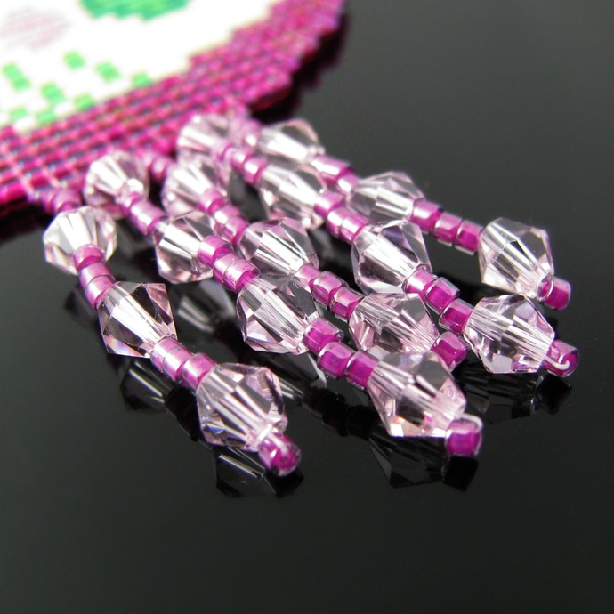 Bead loomed Mackintosh Glasgow rose Art Nouveau inspired pendant