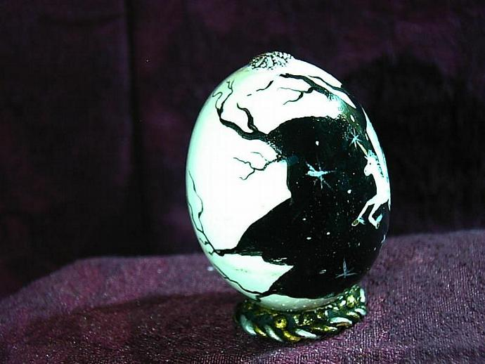 Hand painted egg- 'Other World Egg- a Glimpse of Pegasus' on a permanent stand