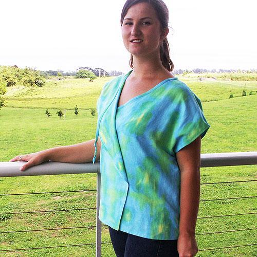 Shell Top in Hand Dyed Linen, Size Medium, OOAK