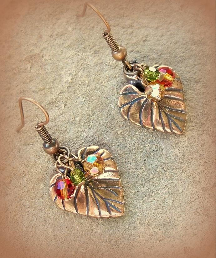 Earrings Copper Violet Leaf