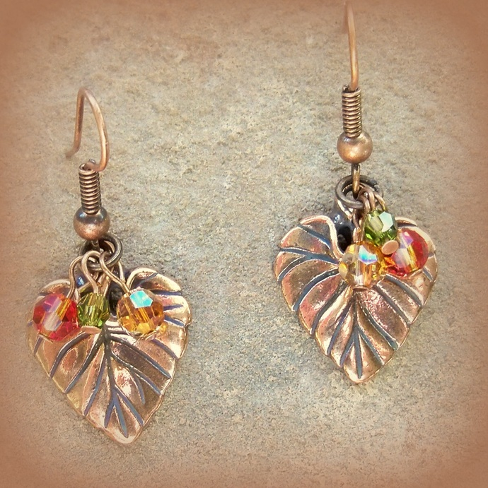 Earrings Copper Violet Leaf