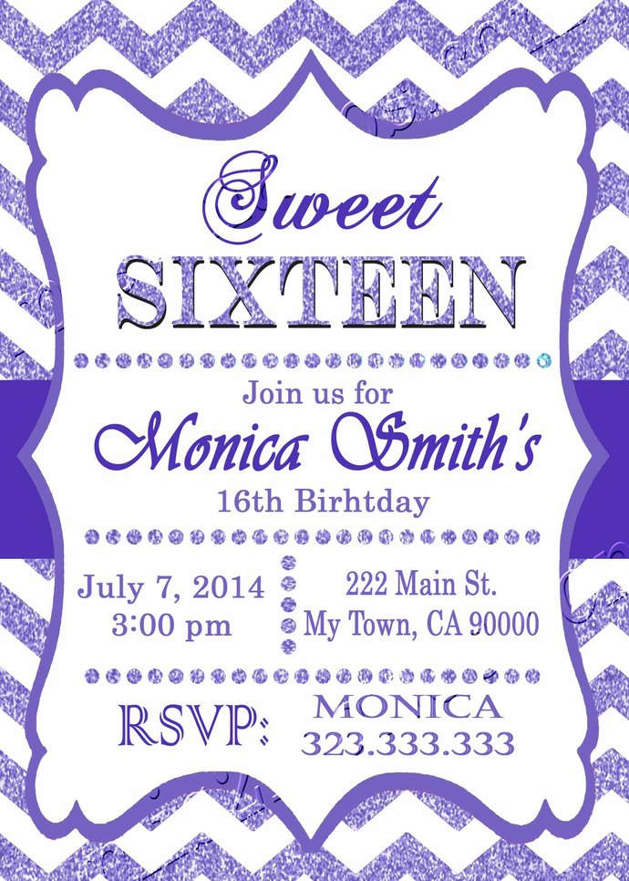 16th birthday invitation - Sweet Sixteen invitation - Teen birthday Chevron