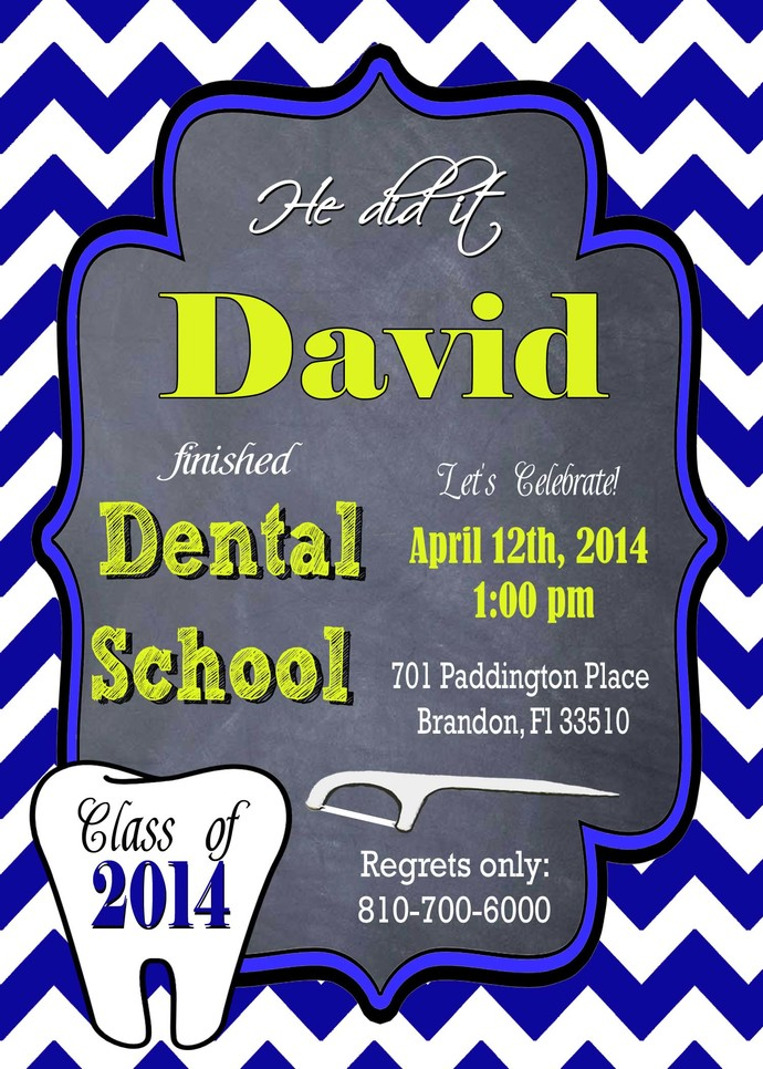 Dental School Degree Male Graduation Party Invitation Graduation Invitation DIY