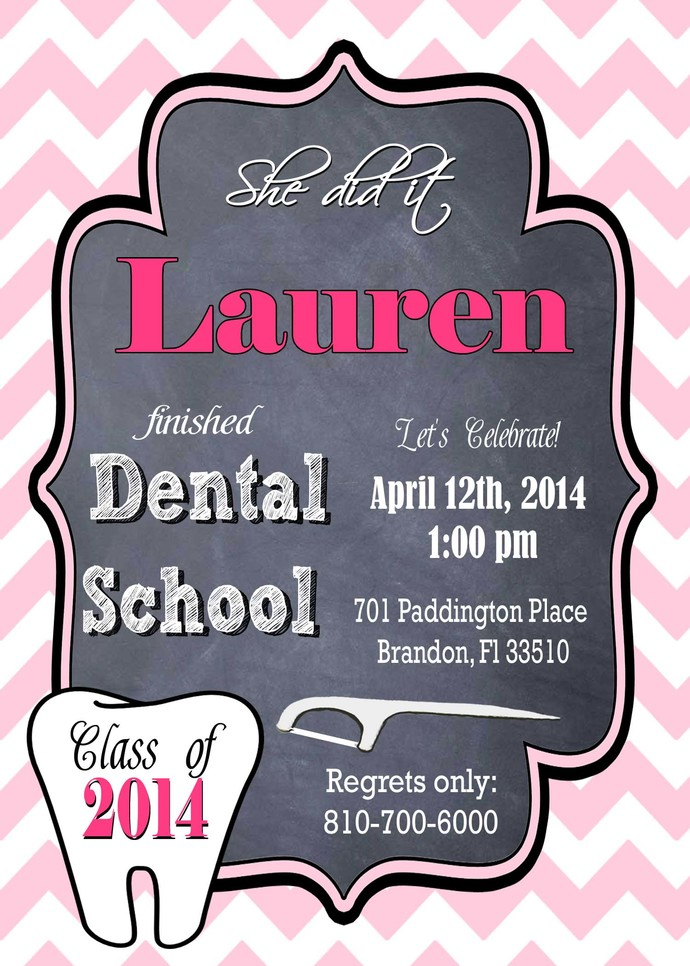 Dental School Graduation Invitation or Medical Party, Personalized Nurse