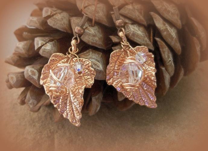 Earrings Red Bronze Leaf