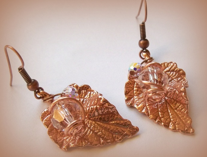 Earrings Red Bronze Leaf