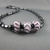 Hematite Necklace with Purple and White Striped Glass Beads