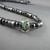 Men's Hematite Necklace with Lampwork Bead Center