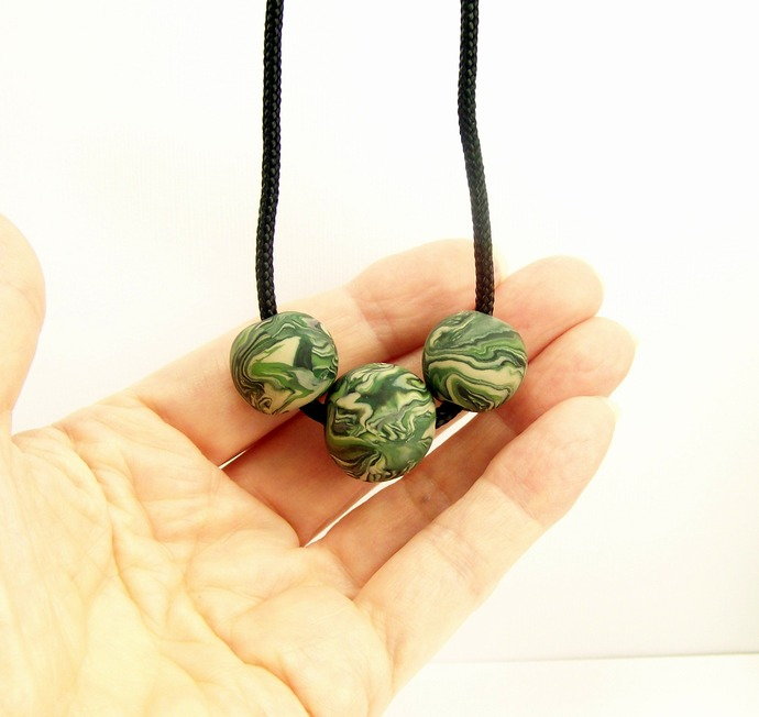 Camouflage Minimalist Simple Necklace, Polymer Clay Jewelry