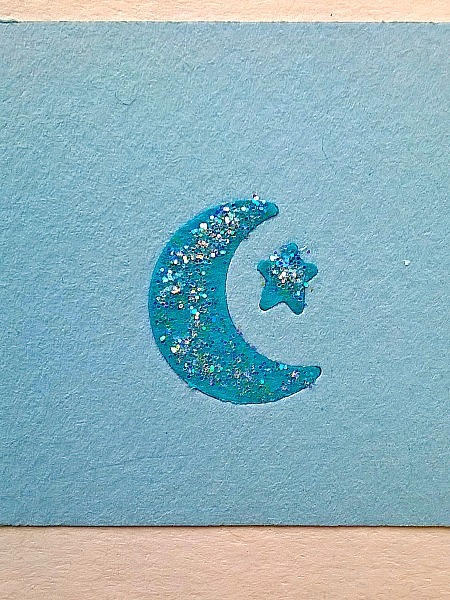 Blue 6 Cresent Moons & Stars Handpunched Card